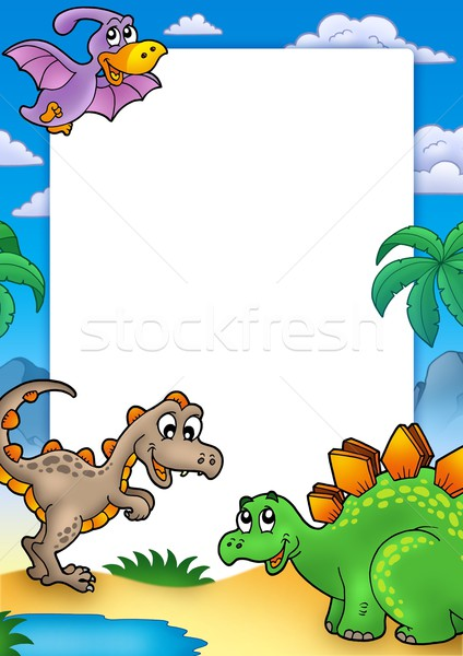 Prehistoric frame with dinosaurs Stock photo © clairev