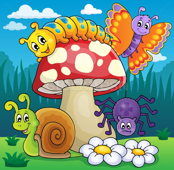 Toadstool with animals on meadow Stock photo © clairev