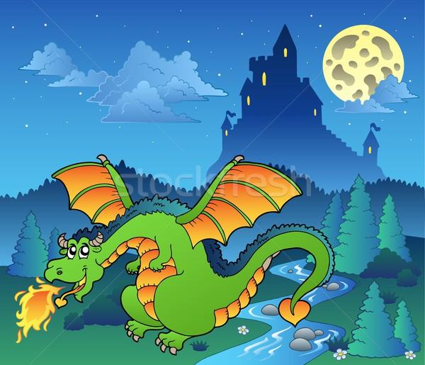 Cuento de hadas imagen dragón agua madera forestales Foto stock © clairev