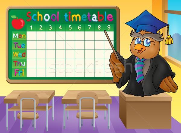 Escolas horário sala de aula pássaro tabela professor Foto stock © clairev