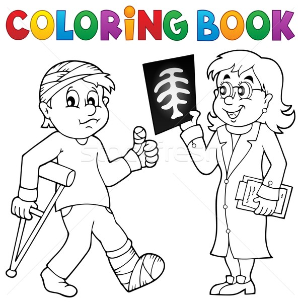 Stock photo: Coloring book doctor attending patient