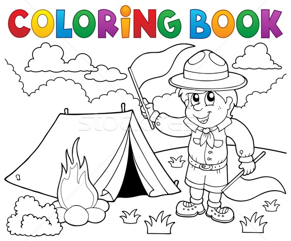 Coloring book scout boy with flags Stock photo © clairev