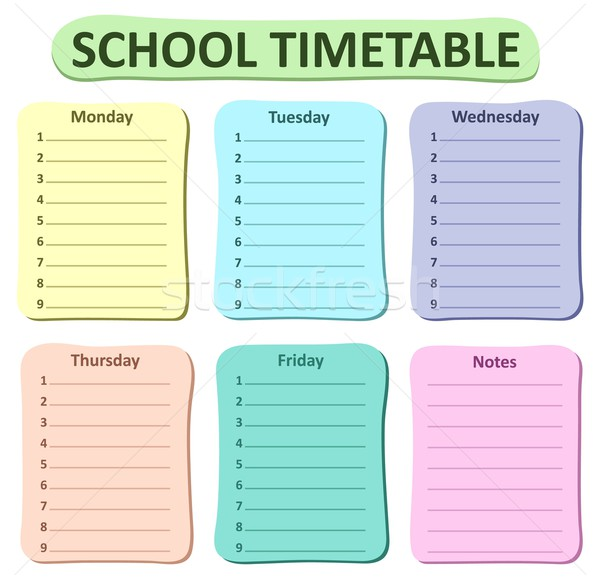 Weekly school timetable theme 1 Stock photo © clairev