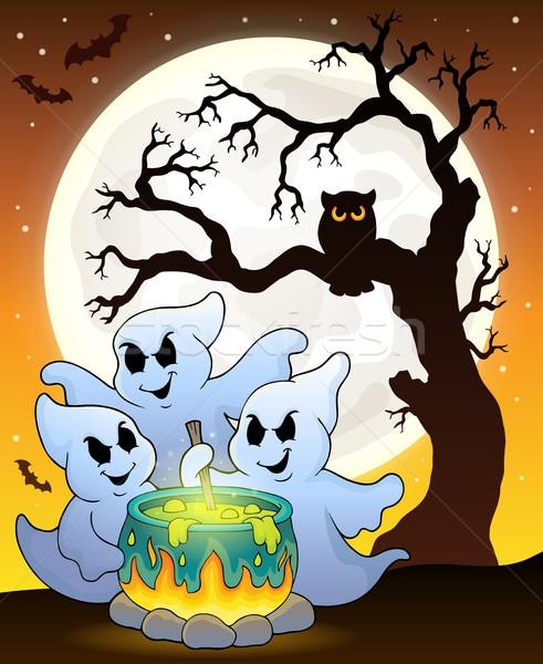 Сток-фото: Призраки · изображение · дерево · огня · луна · искусства