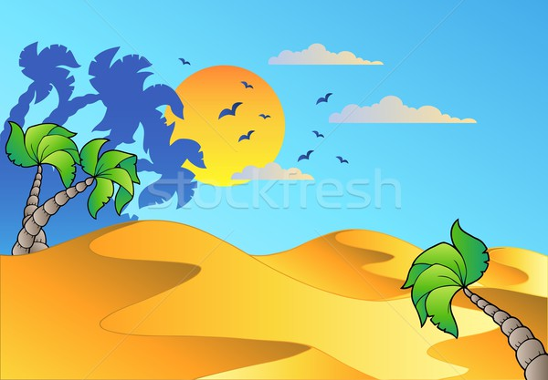 Rajz sivatag tájkép fa levél művészet Stock fotó © clairev