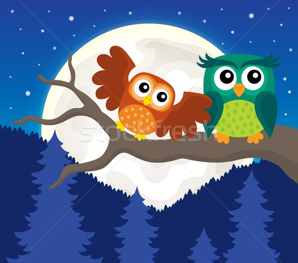 Stylized owls on branch theme image 5 Stock photo © clairev