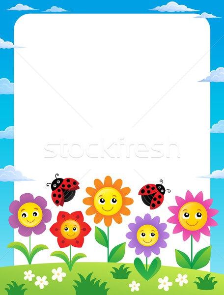 Frame with flowers and ladybugs 1 Stock photo © clairev