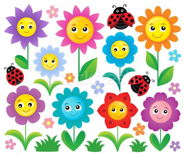 Heureux fleurs sujet fleur sourire Photo stock © clairev
