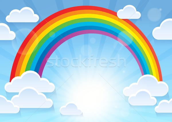 Regenboog gestileerde wolken natuur licht zomer Stockfoto © clairev