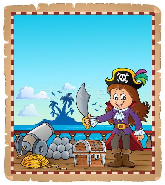 Pergamino pirata nina buque mujer arte Foto stock © clairev