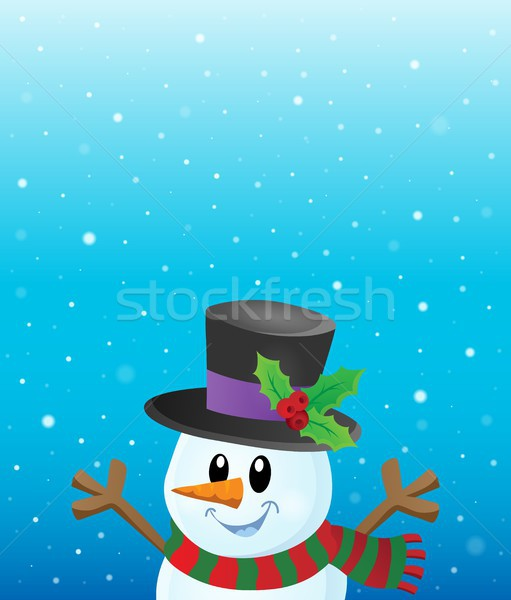 Lurking snowman in snowy weather theme 1 Stock photo © clairev