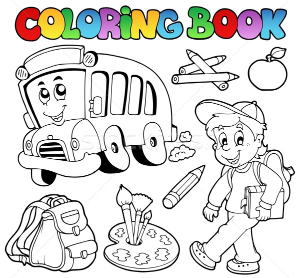 Coloring book school cartoons 2 Stock photo © clairev