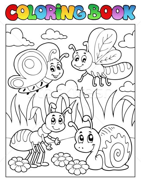 Boyama Kitabı Böcek Görüntü çiçek Bahar Kitap Vektör