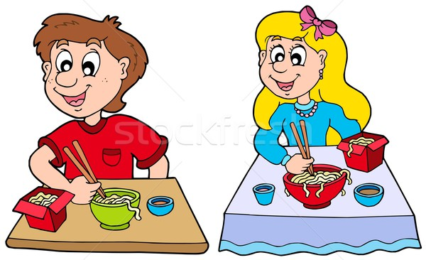 Boy and girl eating Chinese food Stock photo © clairev