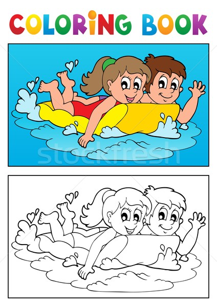 Coloring book swimming theme 3 Stock photo © clairev