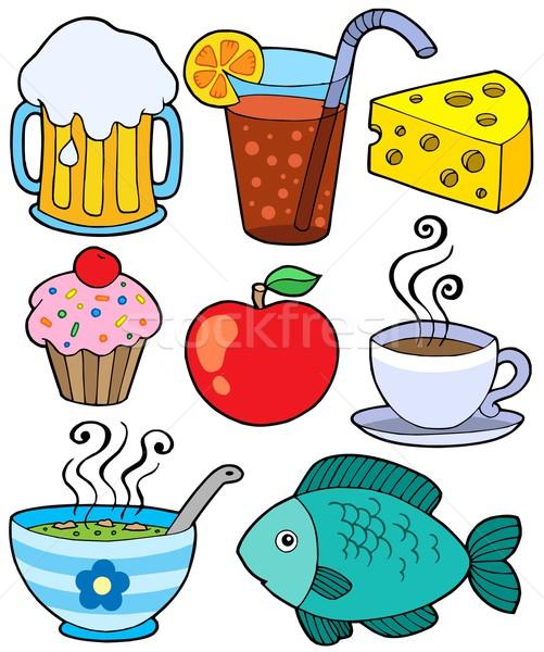 Voedsel drinken collectie koffie appel ontwerp Stockfoto © clairev