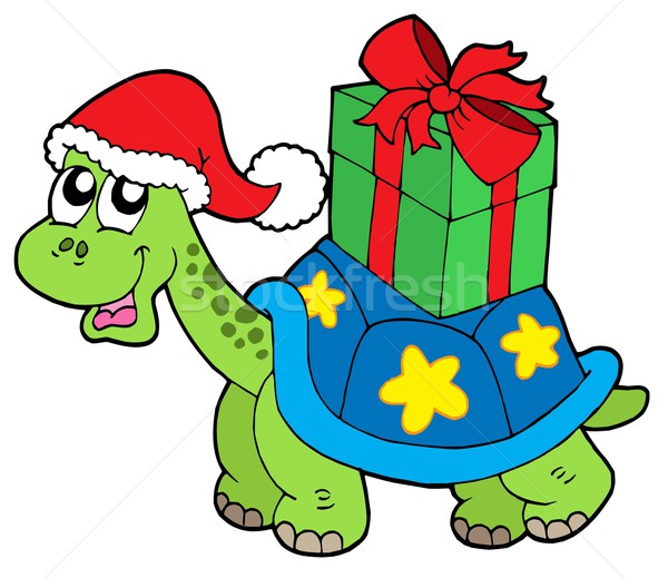 Christmas turtle with gift Stock photo © clairev
