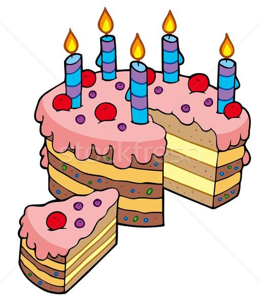 Rajz szeletel születésnapi torta terv torta cukorka Stock fotó © clairev