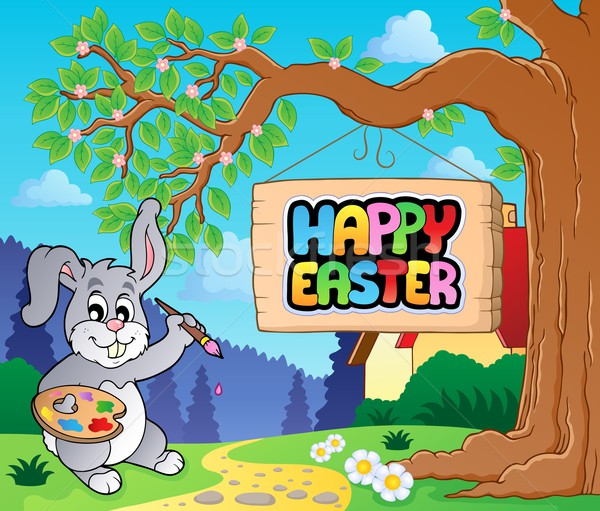 Image with Easter bunny and sign 1 Stock photo © clairev