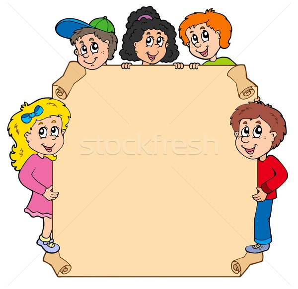 Parchment with various lurking kids Stock photo © clairev