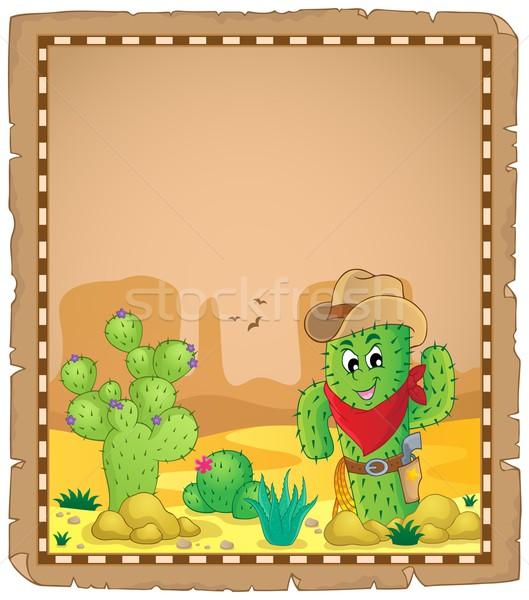 Stockfoto: Perkament · cactus · woestijn · steen · plant · planten