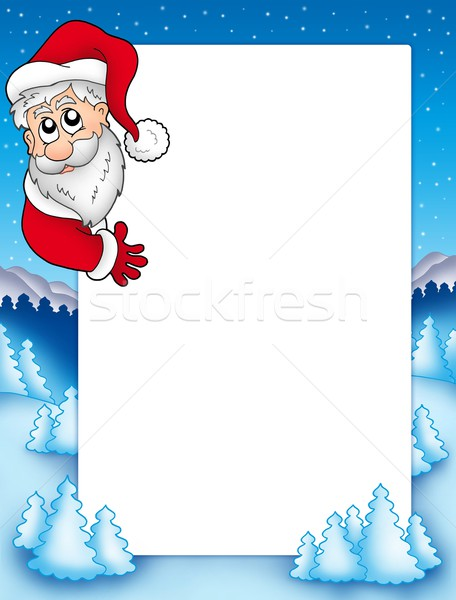 Frame with lurking Santa Claus 2 Stock photo © clairev