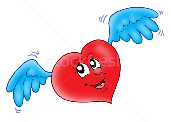 Souriant coeur ailes couleur illustration visage Photo stock © clairev