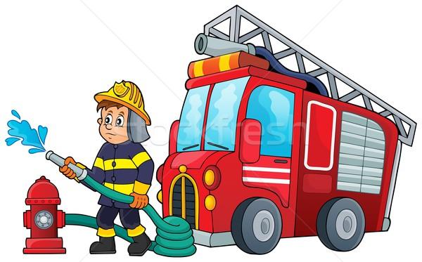 Strażak obraz wody ciężarówka pomoc narzędzi Zdjęcia stock © clairev