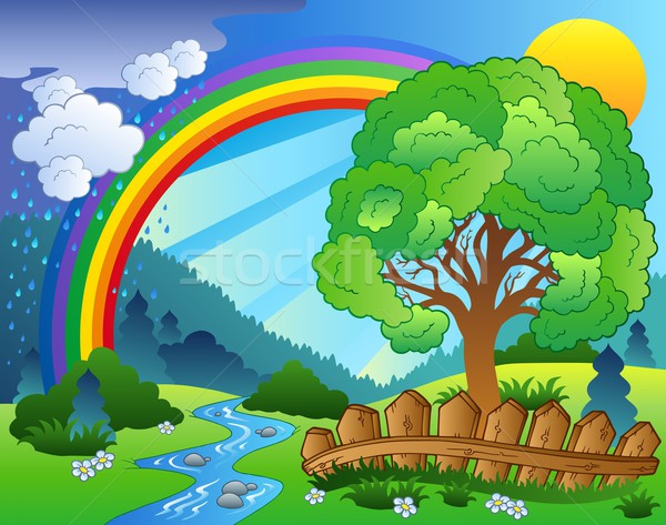 Landscape with rainbow and tree Stock photo © clairev