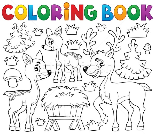 Coloring book deer theme 1 Stock photo © clairev