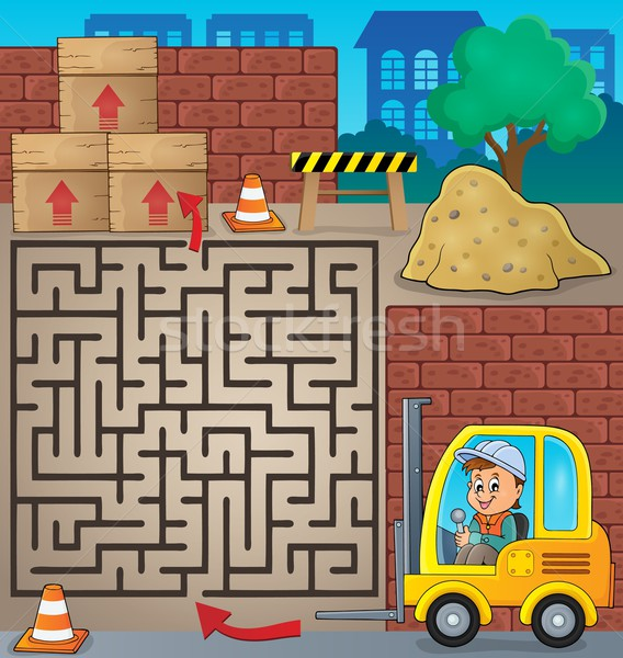 Maze 3 with fork lift truck theme Stock photo © clairev