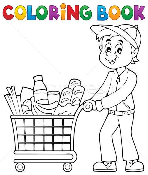 Coloring book man with shopping cart Stock photo © clairev