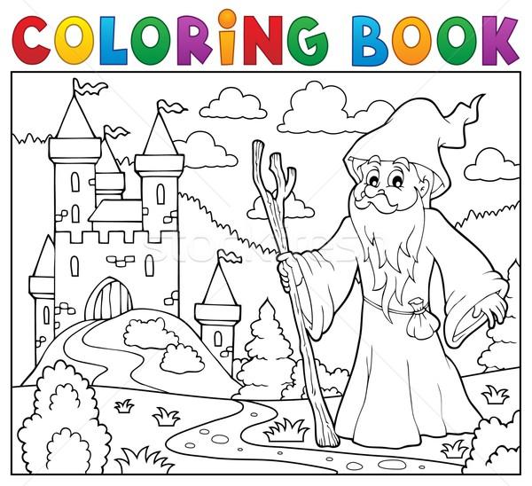 Coloring book druid near castle Stock photo © clairev