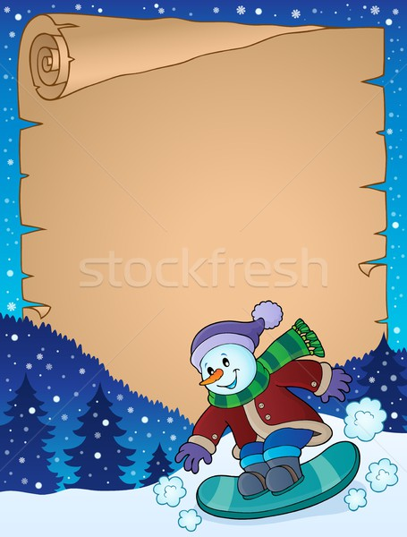 Parchment with snowman on snowboard Stock photo © clairev