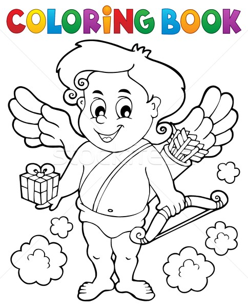 Coloring book with Cupid 9 Stock photo © clairev