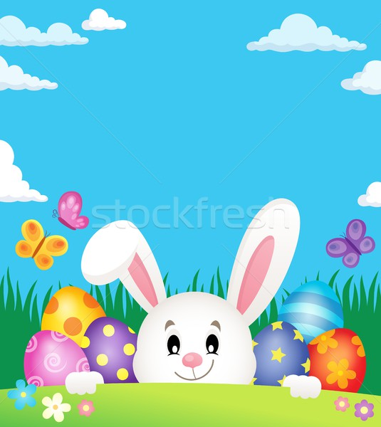 Easter eggs and lurking bunny theme 2 Stock photo © clairev