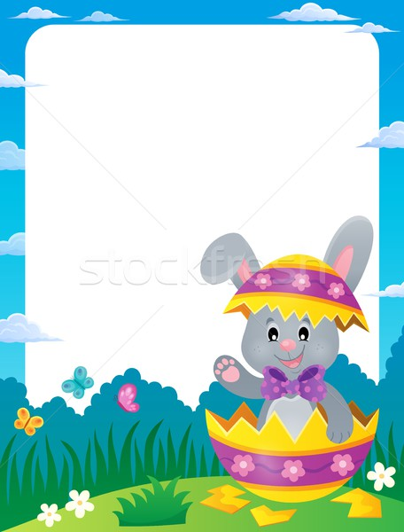 Frame with Easter bunny in eggshell Stock photo © clairev