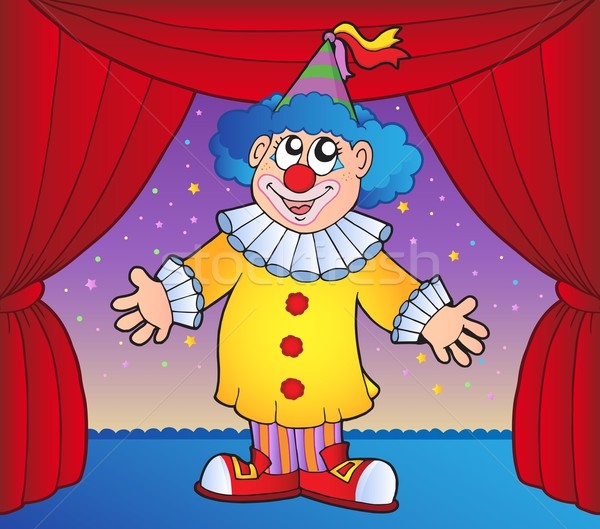 Clown on circus stage 1 Stock photo © clairev