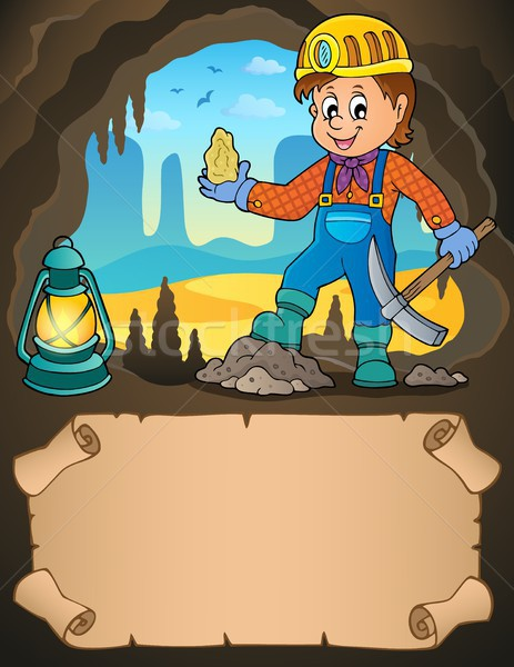 Small parchment and miner with ore Stock photo © clairev