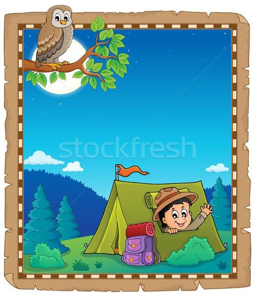 羊皮紙 スカウト テント 笑顔 鳥 少年 ストックフォト © clairev