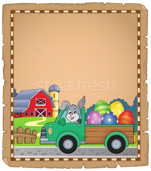 Parchment with Easter truck near farm Stock photo © clairev