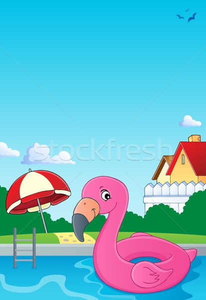 Flamingo afbeelding zwembad speelgoed paraplu Stockfoto © clairev
