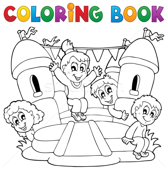 Coloring book kids play theme 5 Stock photo © clairev