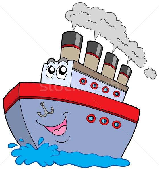 Cartoon лодка белый облака глаза глазах Сток-фото © clairev