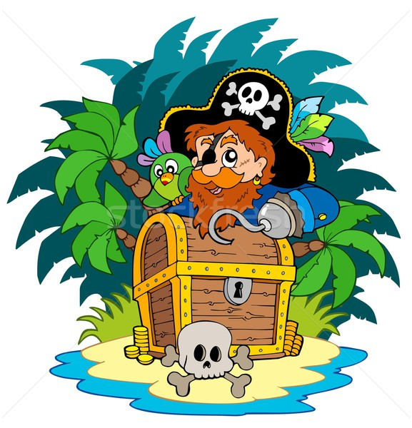 Small island and pirate with hook Stock photo © clairev