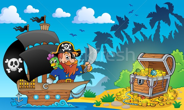 Pirate theme with treasure chest 2 Stock photo © clairev
