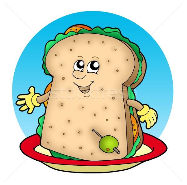 Stockfoto: Cartoon · sandwich · plaat · kleur · illustratie · voedsel