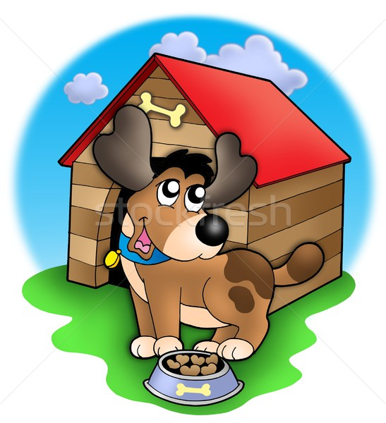Cute dog in front of kennel Stock photo © clairev