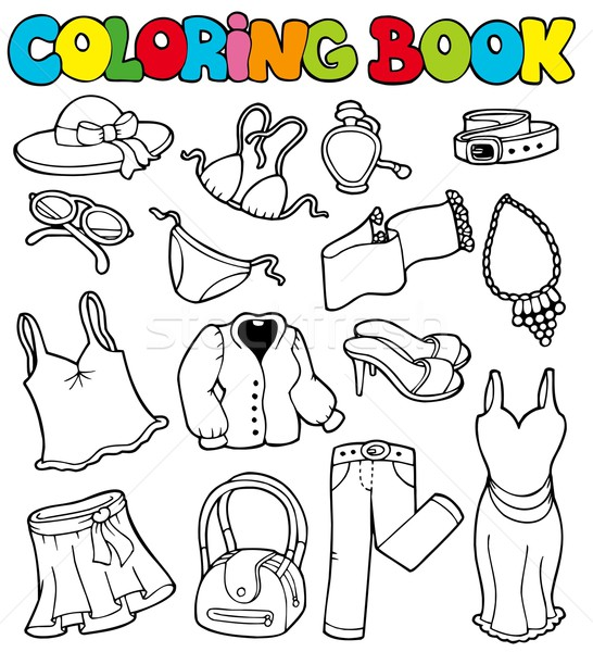 Coloring book with apparel 2 Stock photo © clairev