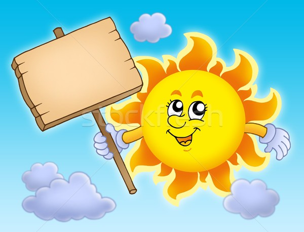 Summer Sun with table on sky Stock photo © clairev